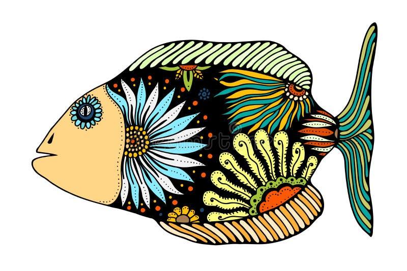 Zentangle stylizował ryba royalty ilustracja