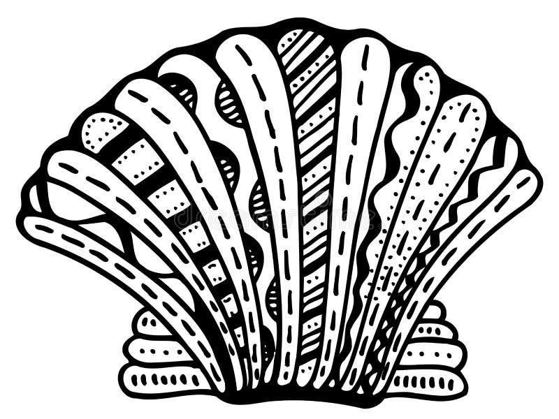 Zentangle stylizował skorupę ilustracja wektor