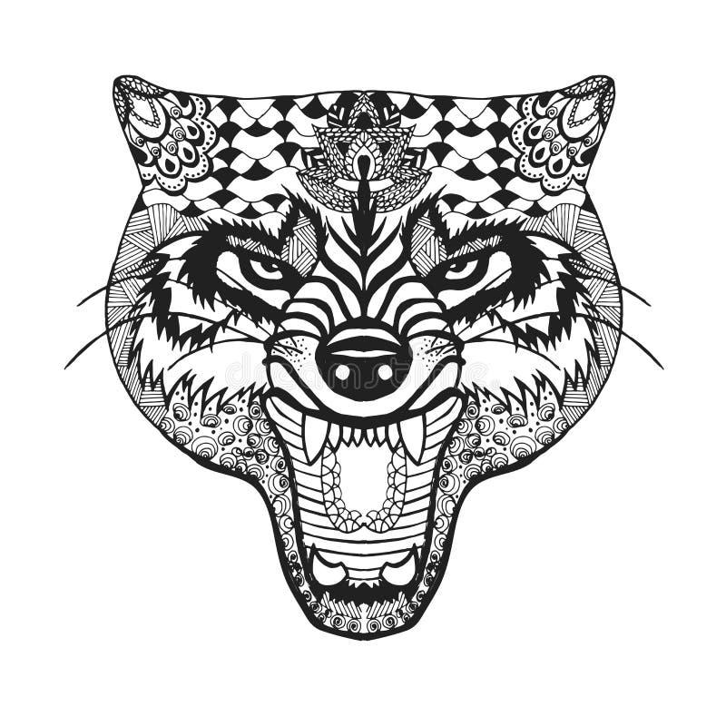 Zentangle stylizował wilka Nakreślenie dla tatuażu lub koszulki royalty ilustracja