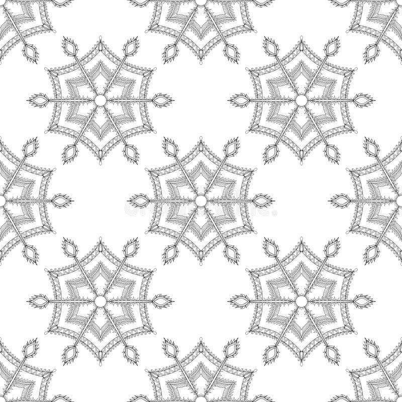 Zentangle stylizował zima lodowego płatka śniegu bezszwowego wzór dla Chr royalty ilustracja