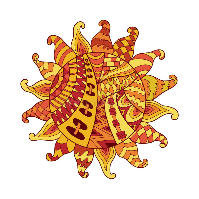 Zentangle sun vector symbol. Sun tribal doodle ornament. Colorful ethnic pattern. stock illustration