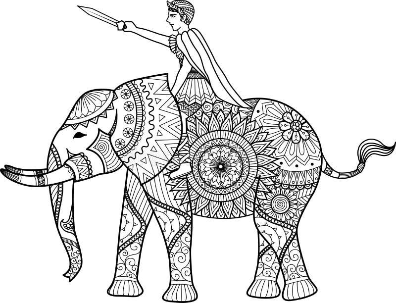 Zentangle sylized del libro de colorear del elefante del montar a caballo del guerrero para el adulto, las tarjetas, el gráfico d stock de ilustración