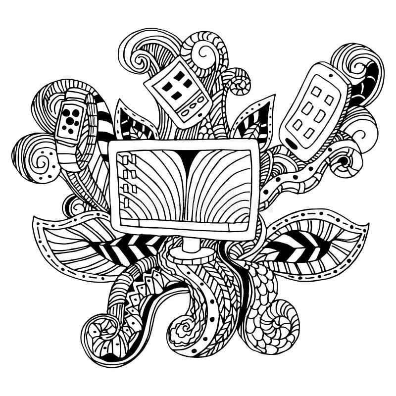 Zentangle teknologisymbol vektor illustrationer