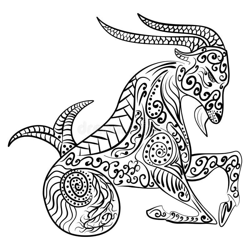 Zentangle-Tierkreissteinbock-Vektorillustration lizenzfreie abbildung