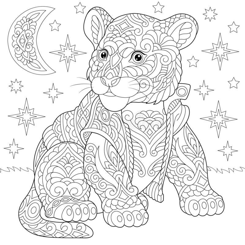 Zentangle tiger baby cub coloring page stock image