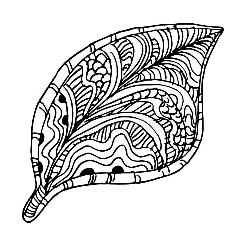 Zentangle trädblad stock illustrationer