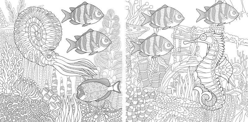 Zentangle twee aquariums vector illustratie