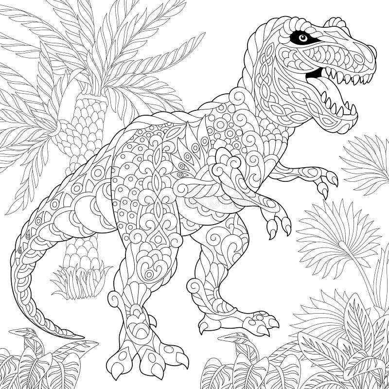Zentangle tyrannosaurus dinosaur royalty ilustracja