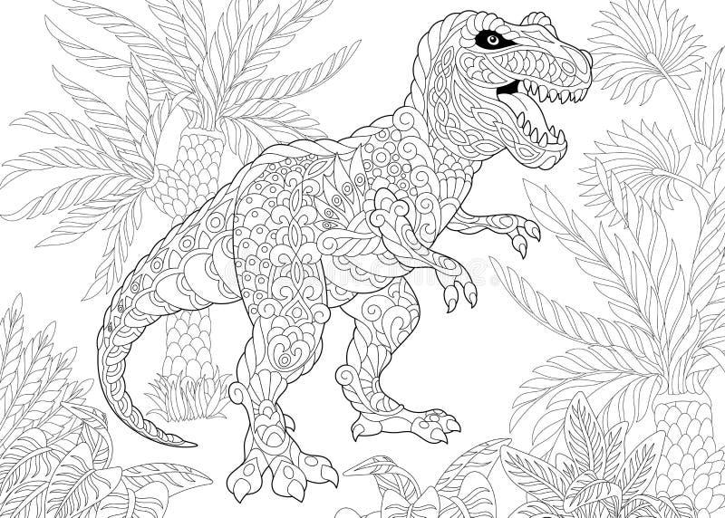 Zentangle tyrannosaurus dinosaur ilustracji