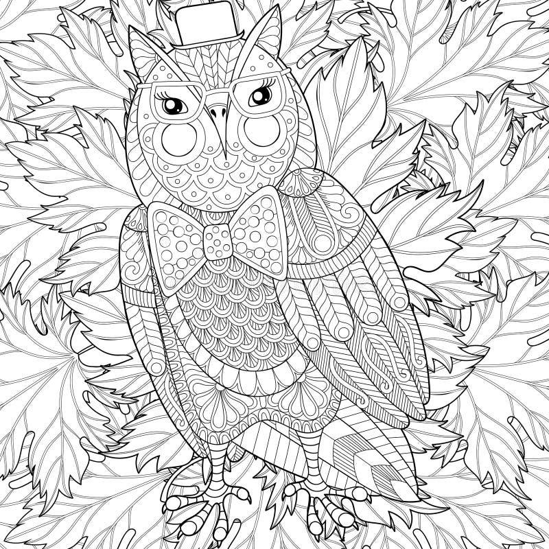Zentangle ugglamålning för vuxen anti-spänningsfärgläggningsida stock illustrationer