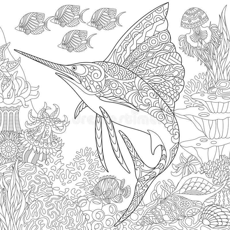 Free Zentangle Underwater Background Royalty Free Stock Photography - 114797807