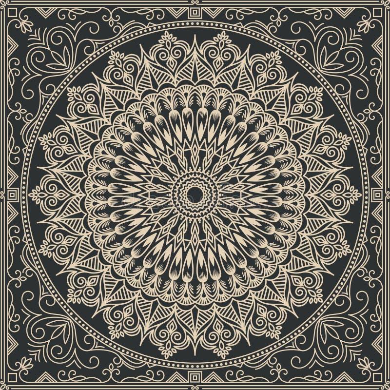 Zentangle utformade den geometriska prydnadmodellbeståndsdelen Orient traditionell prydnad Boho utformade royaltyfri illustrationer