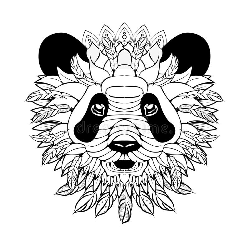 Zentangle utsmyckad panda vektor illustrationer
