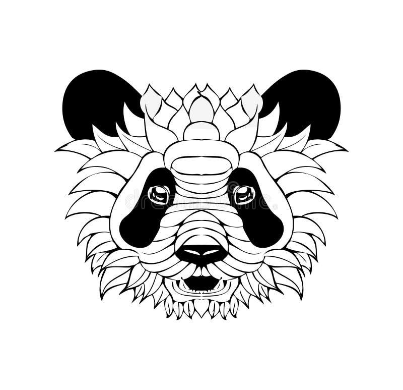 Zentangle utsmyckad panda Tatueringen skissar vektorillustrationen isola royaltyfri illustrationer