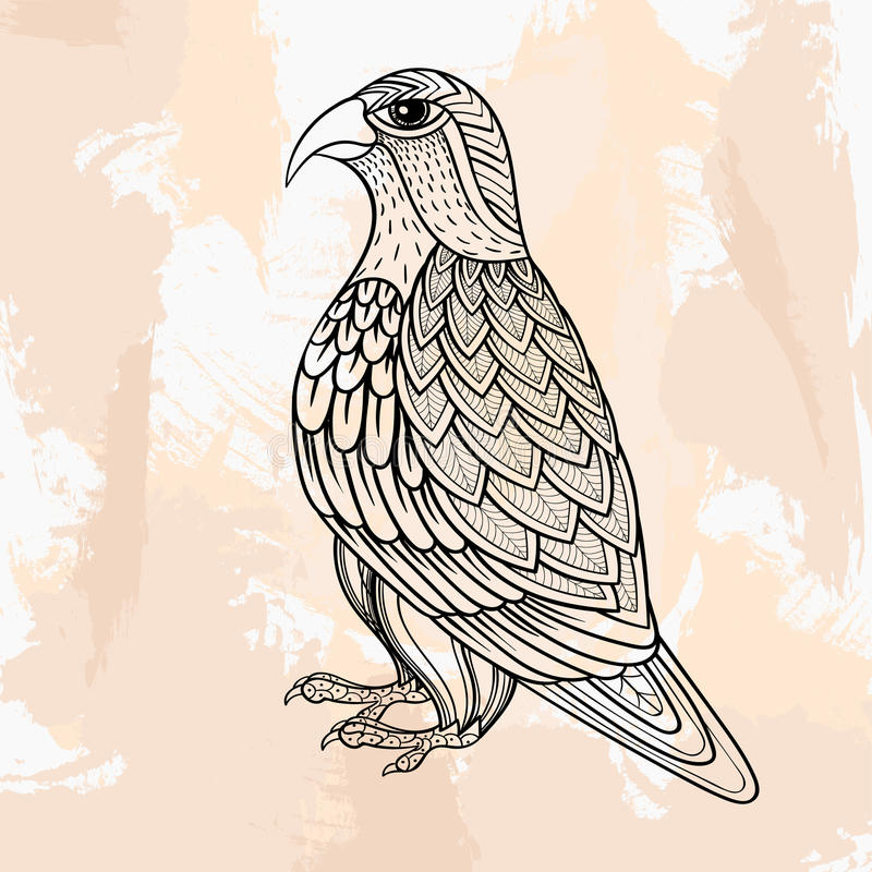 Zentangle vector Falcon, tattoo in hipster style. Ornamental tribal patterned illustration for adult anti stress coloring pages. Hand drawn black sketch on vector illustration