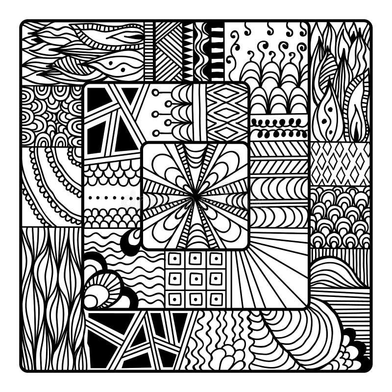 Zentangle vektor för färgläggningbok klotter mandala stock illustrationer