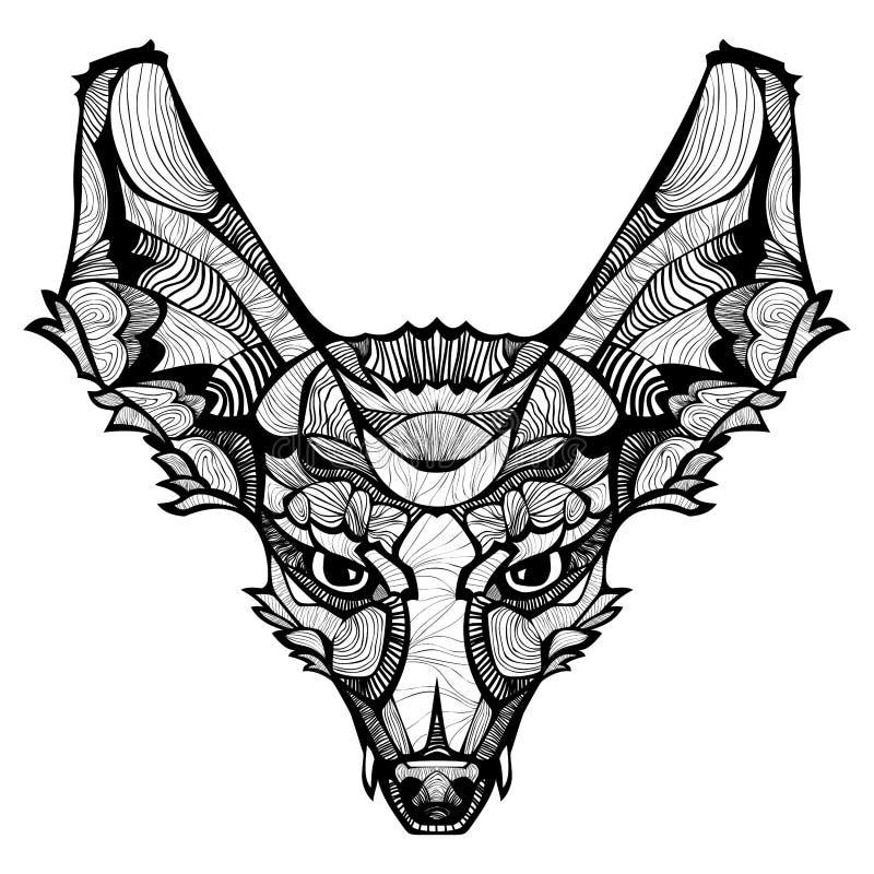 Zentangle-Vektor glücklicher Fox lizenzfreie abbildung