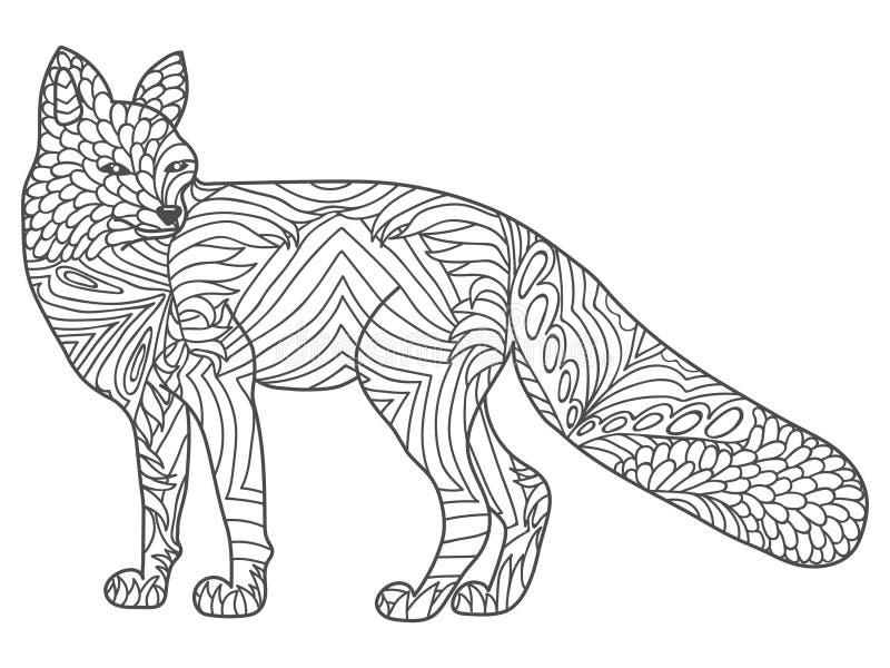Zentangle-Vektor glücklicher Fox für Färbungsseiten des erwachsenen Antidruckes Dekorative Stammes- kopierte Illustration für Tät stock abbildung