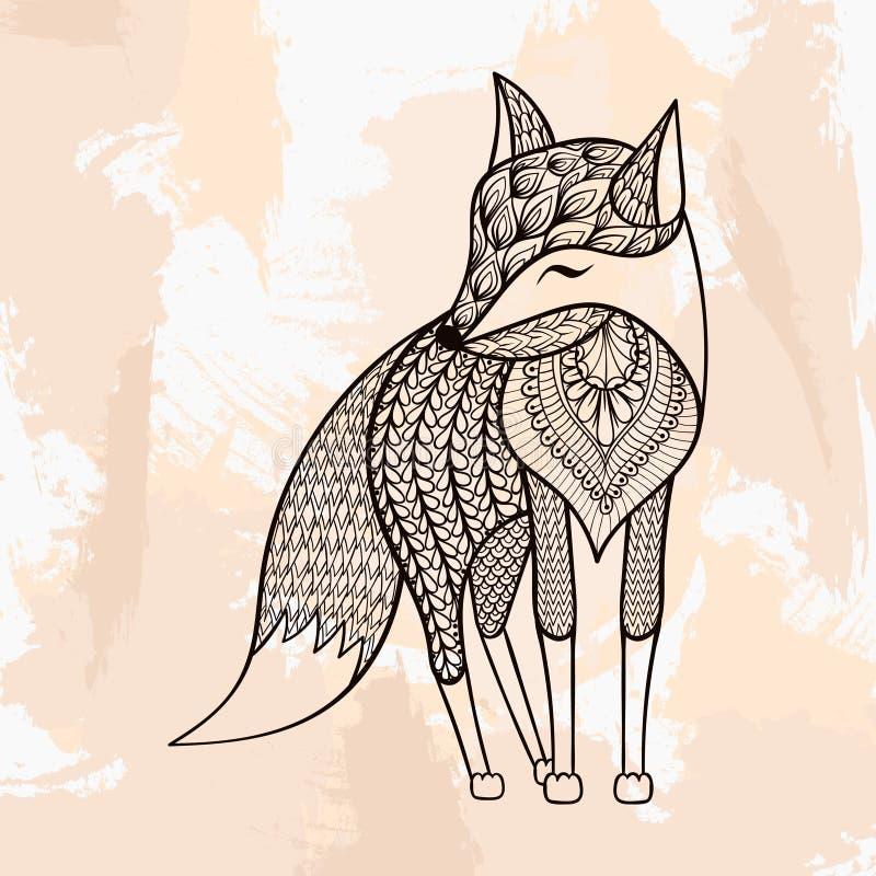 Zentangle vektorräv, tatuering i hipsterstil Dekorativt stam- vektor illustrationer