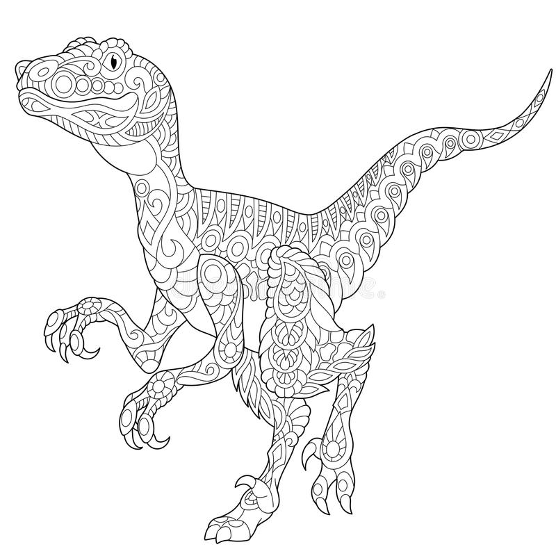 Zentangle velociraptordinosaurie royaltyfri illustrationer