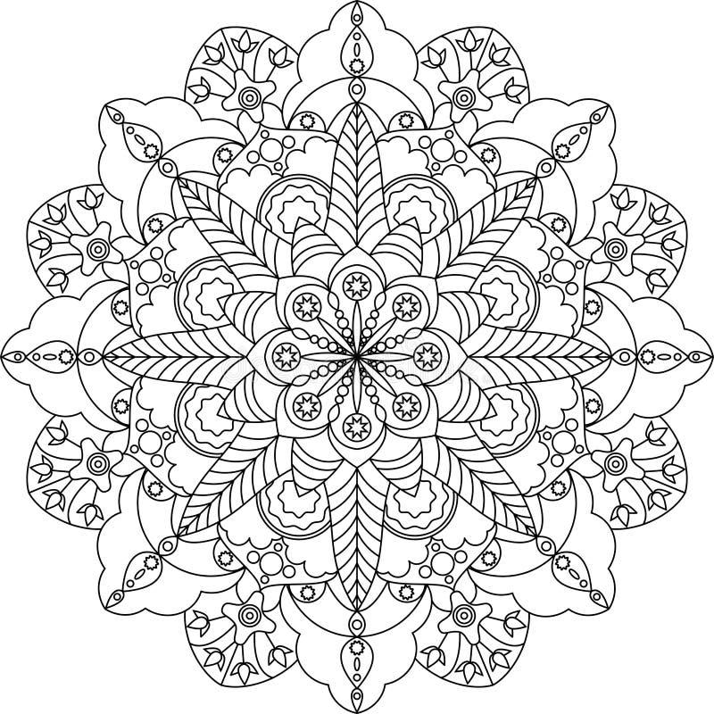 Zentangle volwassen kleurende pagina, mandala met bloemen stock afbeeldingen