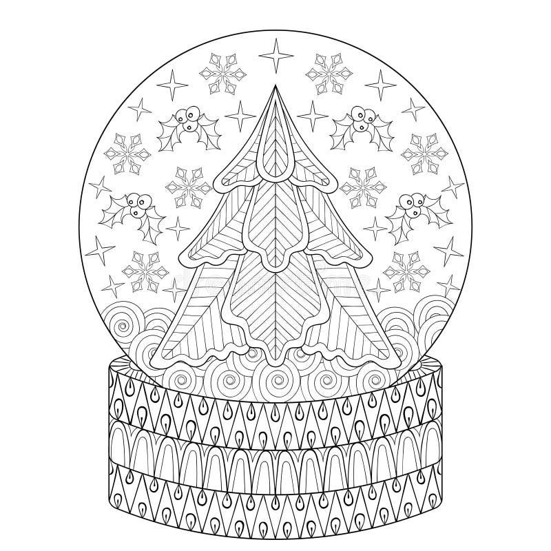 Zentangle wektorowa Śnieżna kula ziemska z Bożenarodzeniowym jedlinowym drzewem, płatki śniegu ilustracja wektor