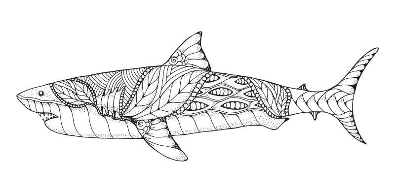Zentangle y gran tiburón blanco estilizado punteado Vector, illus stock de ilustración