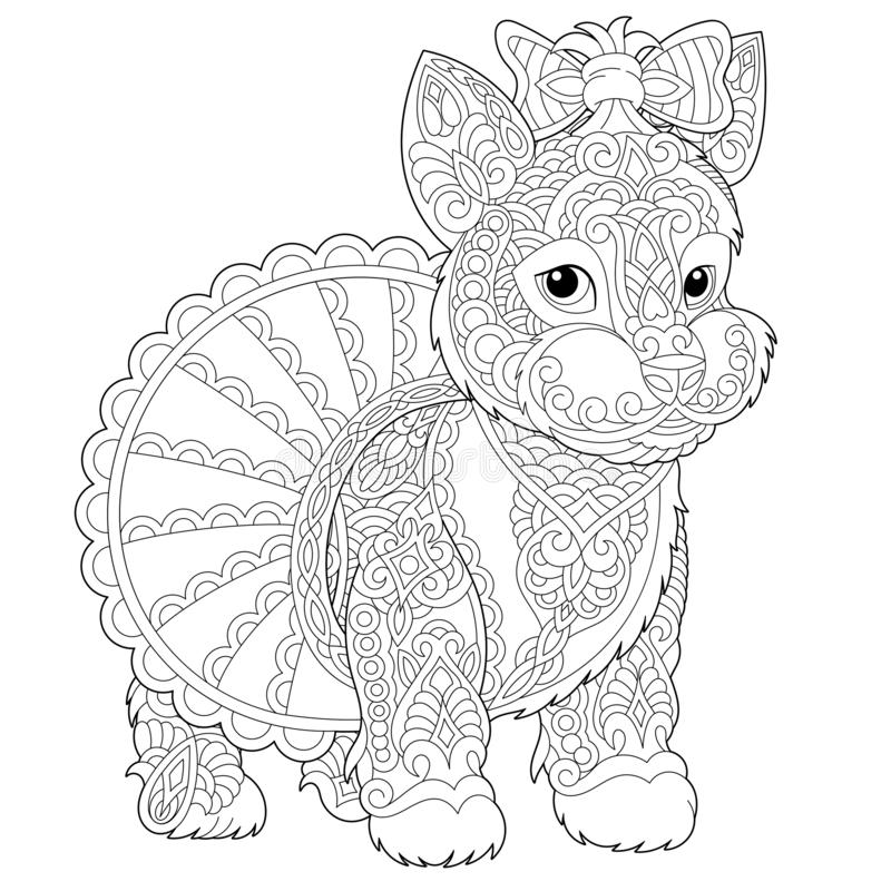 Zentangle yorkshire terrier dog coloring page royalty free stock photography