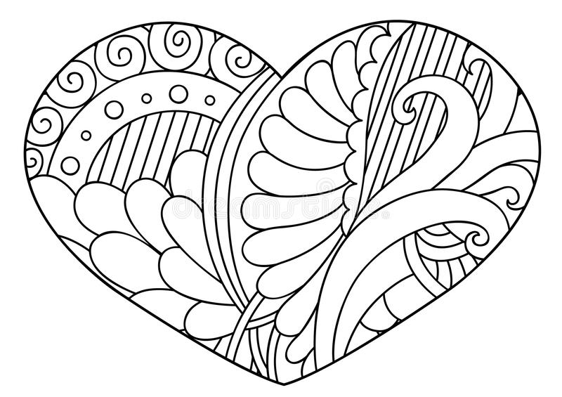 Zentangle zwart-wit decoratief hart stock illustratie