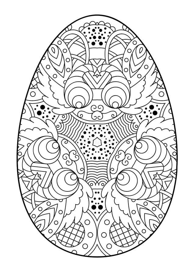 Zentangle zwart-wit decoratief paasei royalty-vrije illustratie