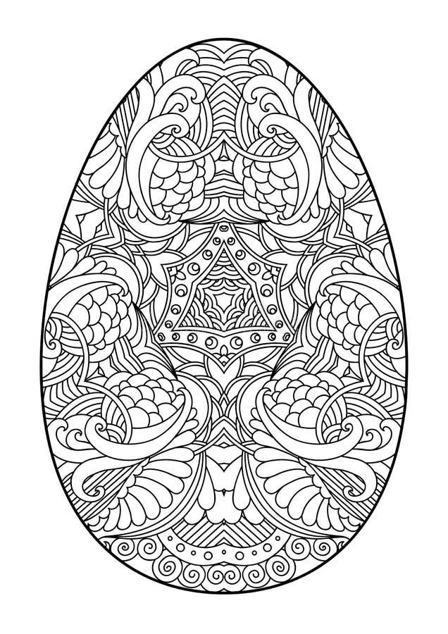 Zentangle zwart-wit decoratief paasei vector illustratie