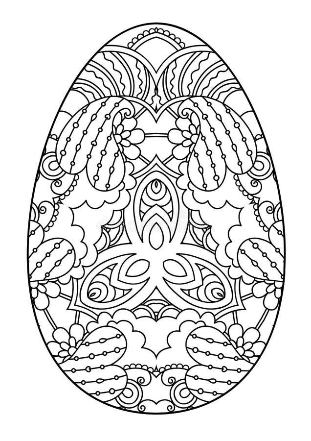 Zentangle zwart-wit decoratief paasei stock illustratie