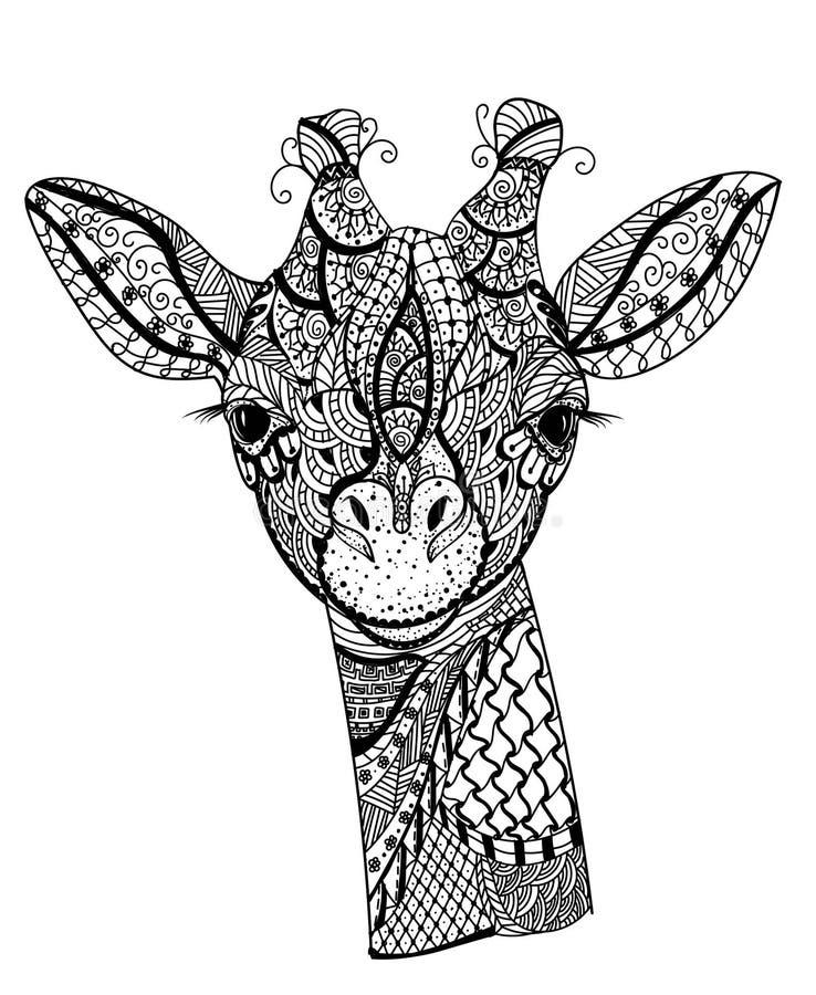 Zentanglegiraf stock illustratie