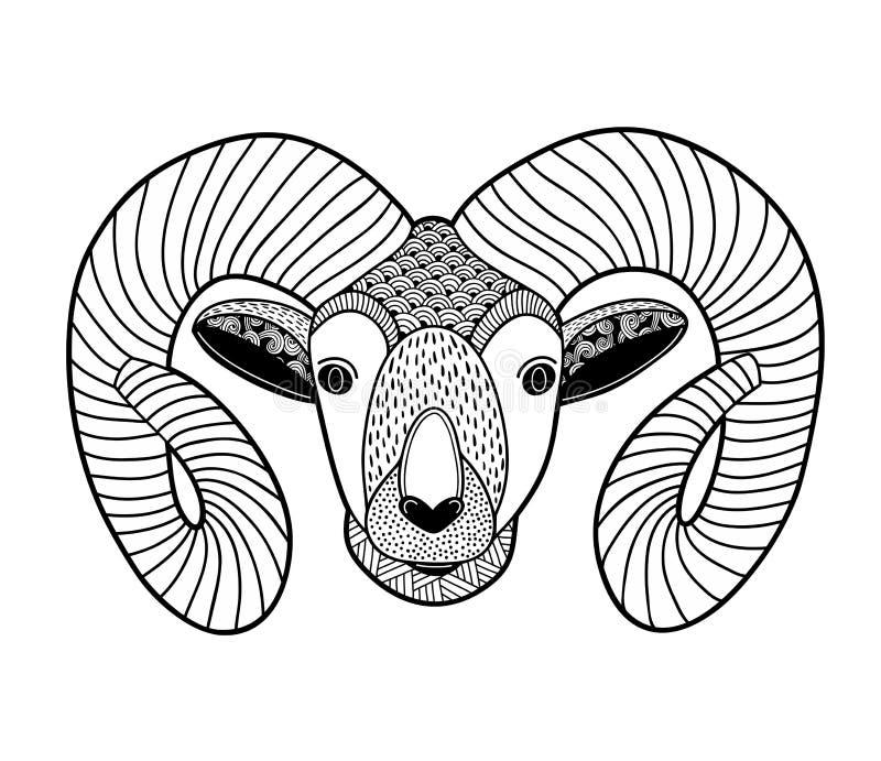Zentanglehoofd van bergram voor het kleuren vector illustratie