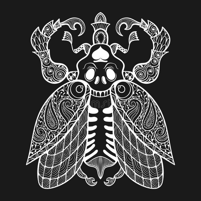 Zentangleinsect met schedel, zwart-wit illustartion stammentotem i stock illustratie
