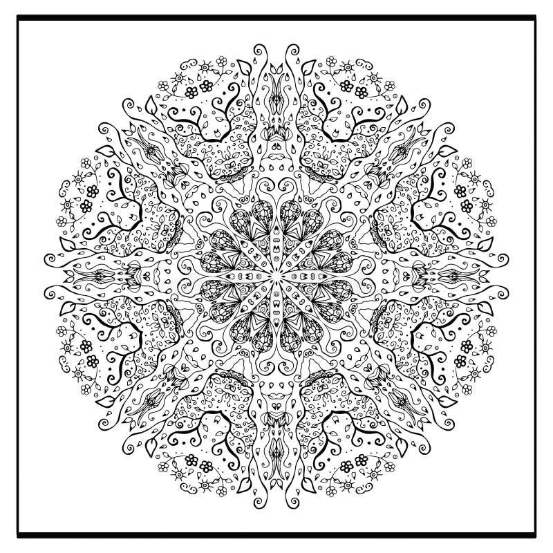 Zentanglemandala - de kleurende boekpagina voor volwassenen, ontspant en meditatie, vector, krabbel vector illustratie