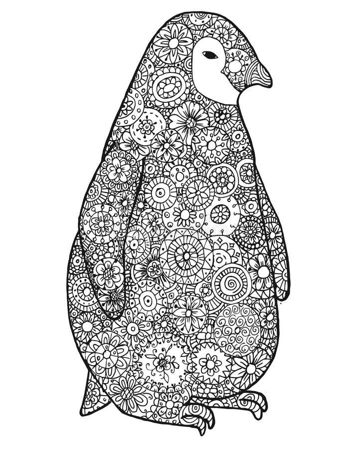 Zentova och zenklotterpingvin Zentangle djur Konturvektor för färgläggningdiagram för bok färgrik illustration kontur stock illustrationer