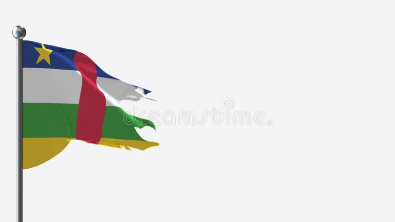 Zentral-Afrikanische Republik 3D-abgeschrägte Wellenflaggenillustrierung auf Flagpole stock abbildung