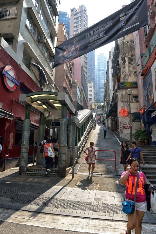 Zentral-Mittler-Niveaurolltreppen in Hong Kong stockfoto