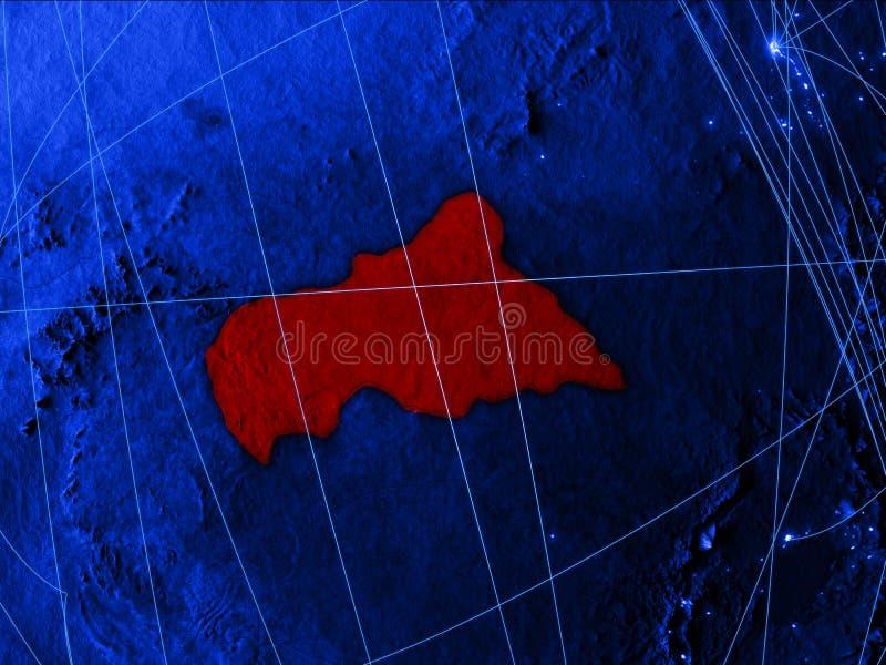 Zentralafrika auf blauer digital erzeugter Karte mit Netzen Konzept der internationaler Reise, der Kommunikation und der Technolo vektor abbildung