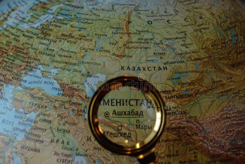 Zentralasien auf russischer Karte stockbilder
