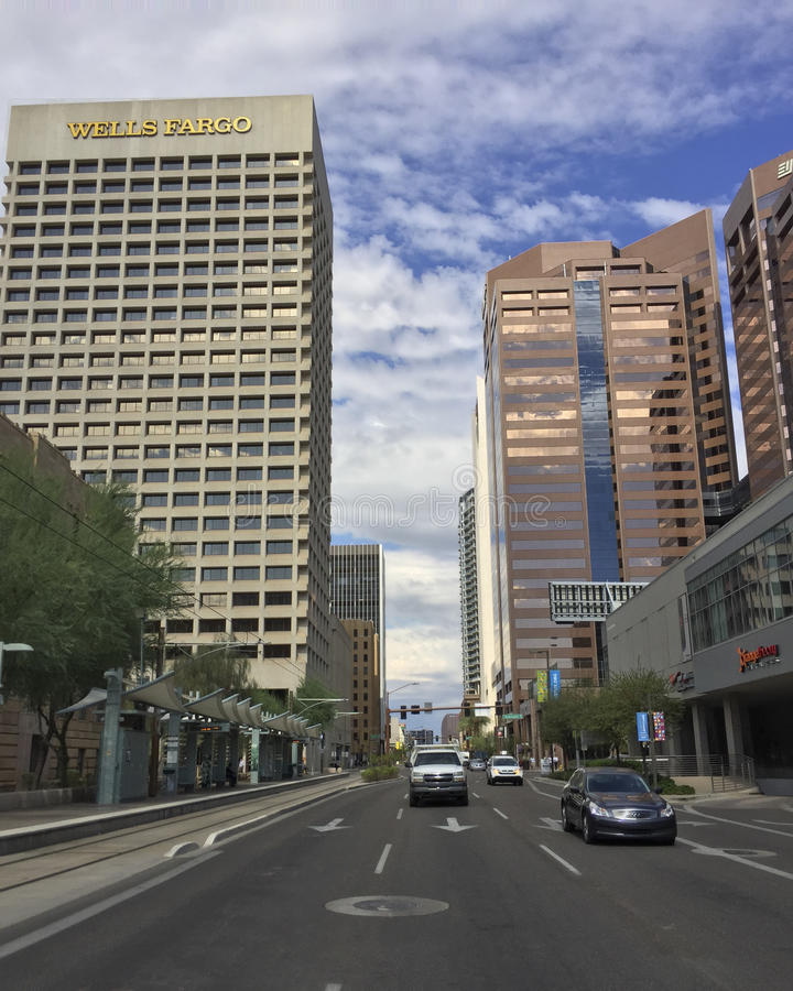 Zentrale Allee, Phoenix im Stadtzentrum gelegen, AZ lizenzfreies stockbild
