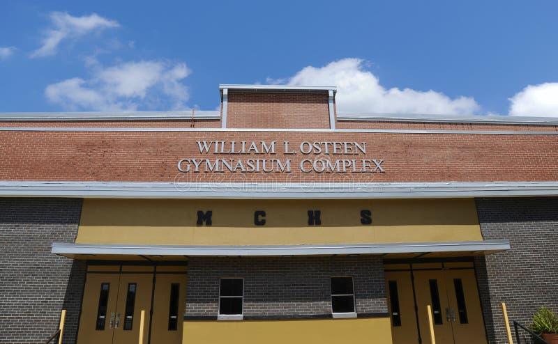 Zentrale Highschool Millington Turnhalle stockfotos