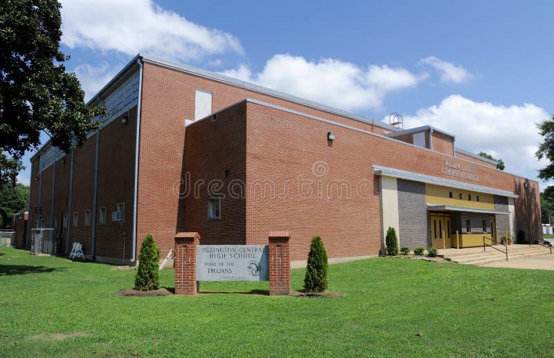 Zentrale Highschool Millington Weitwinkel lizenzfreies stockbild