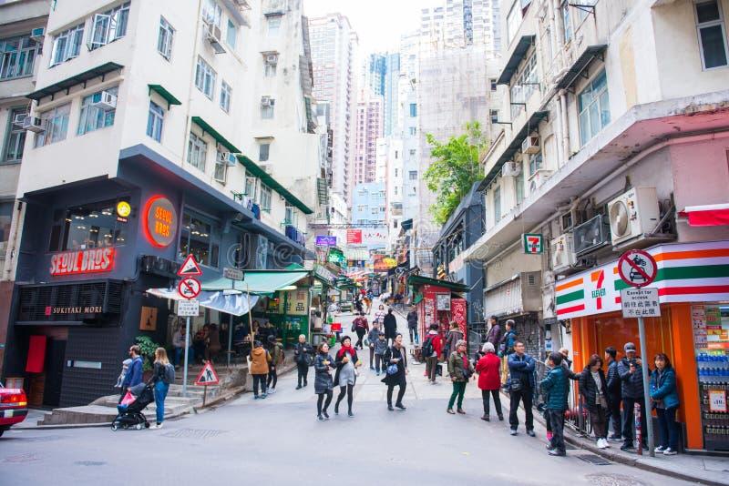 Zentrale, Hong Kong - 14. Januar 2018: Mengen des nicht identifizierten PET lizenzfreie stockfotografie