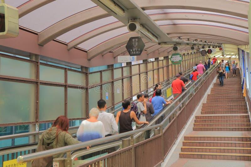 Zentrale mittlere waagerecht ausgerichtete Rolltreppe Hong Kong lizenzfreie stockbilder
