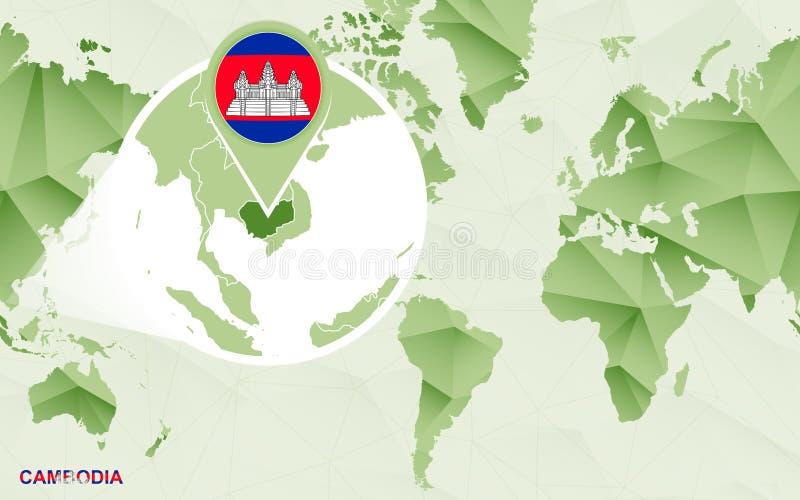 Zentrale Weltkarte Amerikas mit vergrößerter Kambodscha-Karte vektor abbildung