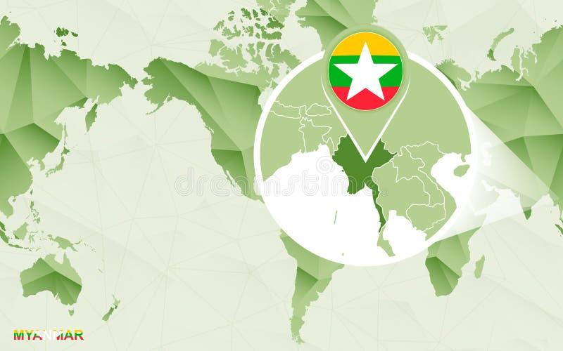 Zentrale Weltkarte Amerikas mit vergrößerter Myanmar-Karte lizenzfreie abbildung