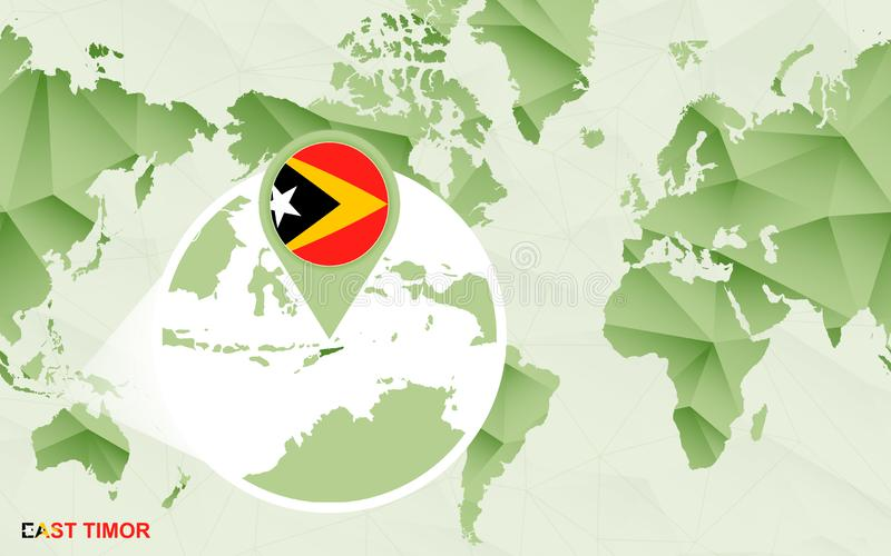 Zentrale Weltkarte Amerikas mit vergrößerter Osttimor-Karte stock abbildung