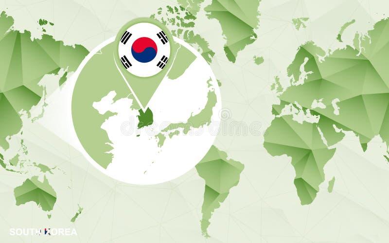 Zentrale Weltkarte Amerikas mit vergrößerter Südkorea-Karte lizenzfreie abbildung